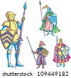 Medieval knights with lance. Set of color vector illustrations. - stock vector