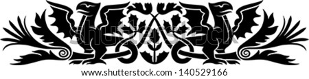 Medieval pattern with bizarre creatures look like dragons and thistle as a Scotch national symbol. Good as an armband tattoo. - stock vector