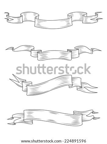 Medieval ribbons and banners set isolated on white background - stock vector