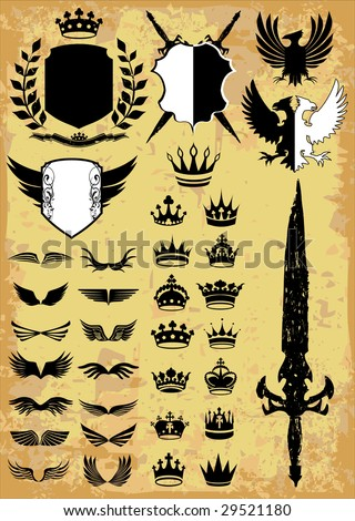 Medieval & royal elements vector collection - stock vector