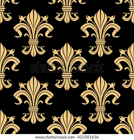 Medieval royal golden fleur-de-lis pattern on black background with seamless french heraldic ornament of victorian floral compositions. Use as vintage interior design or monarchy concept - stock vector