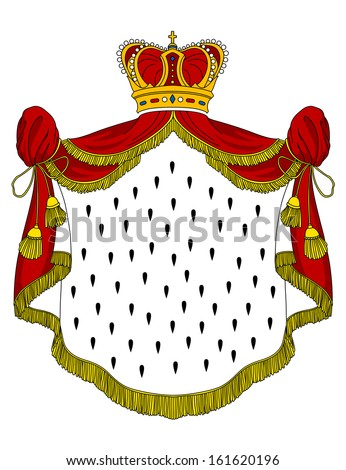 Medieval royal mantle with crown for heraldry design - stock vector