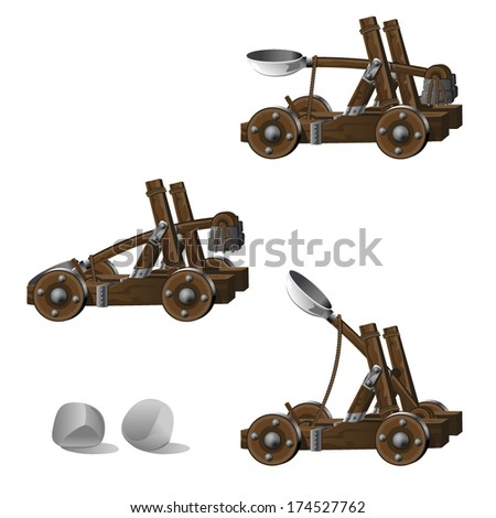 Medieval Siege Catapult with Boulders - Detailed siege catapult with ammunition and shooting animation frames - stock vector
