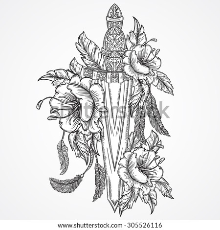 Medieval sword, flowers, leaves and feathers. Vintage floral highly detailed hand drawn illustration. Isolated elements. Victorian Motif. Tattoo design - stock vector