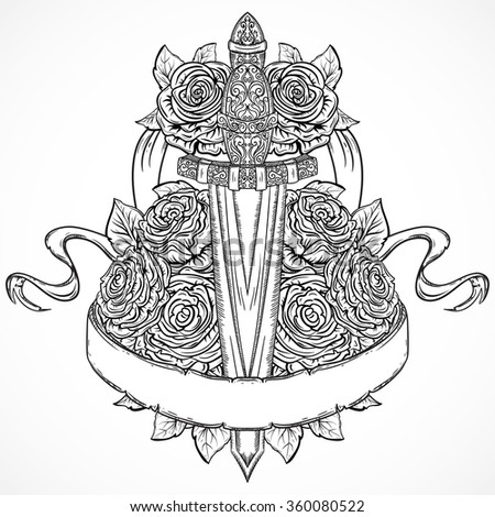 Medieval sword, roses, leaves and ribbon banner. Vintage floral highly detailed hand drawn illustration. Isolated elements. Victorian Motif. Tattoo design - stock vector