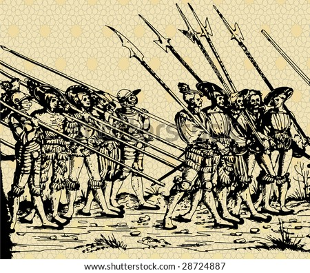 medieval vector picture with march of soldiers, ink drawing - stock vector