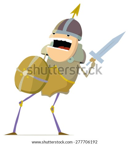 Medieval warrior with shield and sword - stock vector