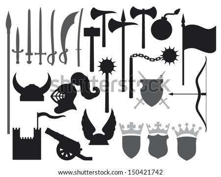 medieval weapons icons (tower, gaul helmet, medieval knight helmet, ancient cannon, swords, katana sword, old bomb, battle ax, hammer, flag, crown, coat of arms, shield, saber, medieval flail)  - stock vector