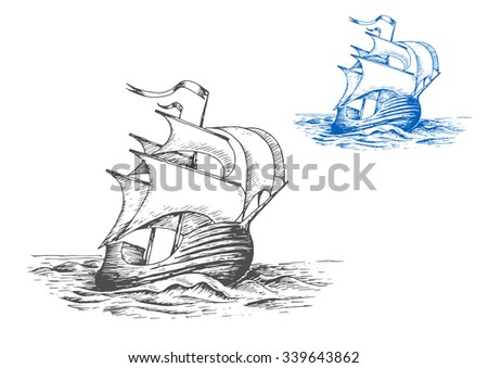 Medieval wooden tall ship under full sails doing turning maneuver in the stormy ocean, for marine adventure or travel design. Sketch style - stock vector