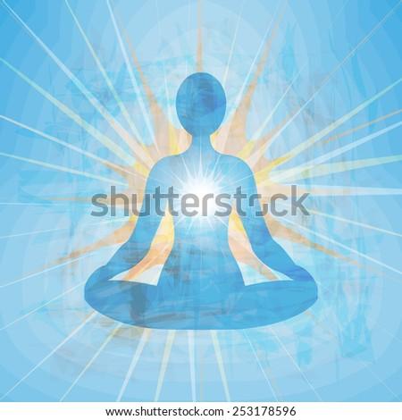 Meditating blue silhouette - stock vector