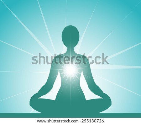 Meditating blue silhouette - stock vector