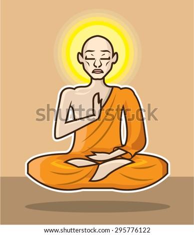 Meditating floating Monk vector Art - stock vector