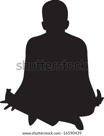 meditating, vector - stock vector