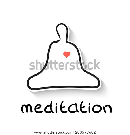 Meditation - a linear outline illustration - the native character of man in meditation asana - lotos, with the heart. Vector picture. - stock vector