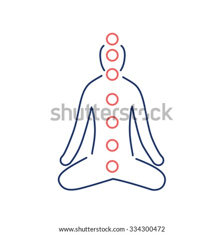 Meditation and chakras red and blue linear icon on white background | flat design alternative healing illustration and infographic - stock vector
