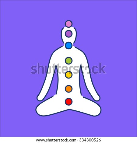 Meditation and chakras white linear icon on purple background | flat design alternative healing illustration and infographic - stock vector