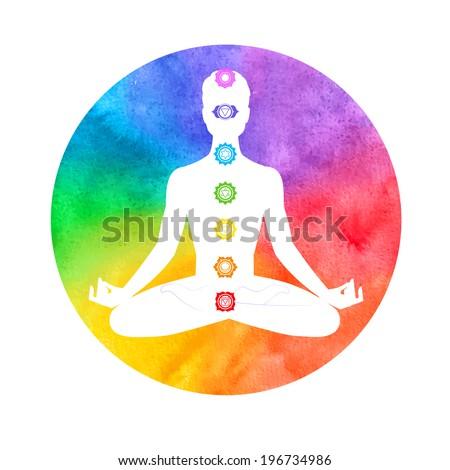 Meditation, aura and chakras. Vector illustration.  - stock vector