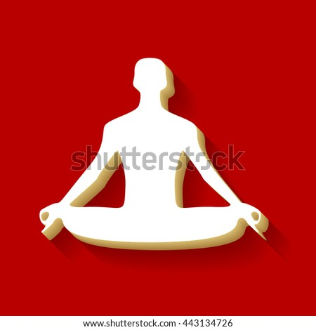 Meditation man sign illustration. White button icon with wood color and shadow on dark red background.