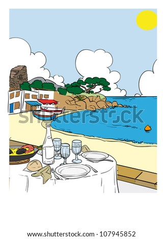 Mediterranean beach tourism vacation sun & sea & food - stock vector
