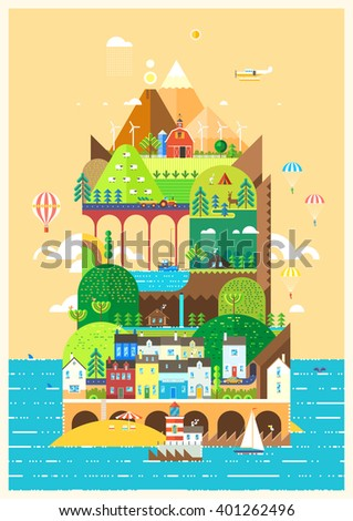 Mediterranean island. Tourist town on the island. Skydiving. Infographics - tourist island Mountain landscape. Ballooning. Ecological holidays. Seaport. Life on the ecological island. Agriculture. - stock vector