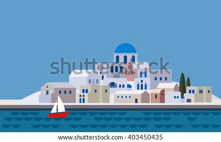 Mediterranean landscape by sea greek island stock vector for Little island design