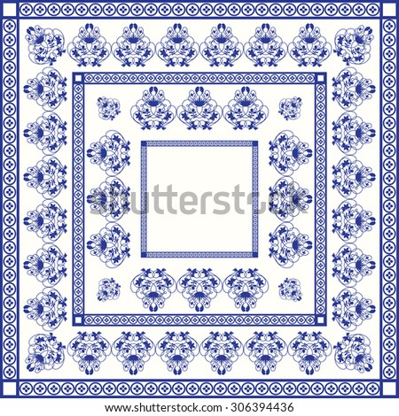 Mediterranean traditional blue and white tile pattern. Oriental arabesque ceramic tile with squares and swirls.  - stock vector