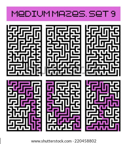 medium mazes set 9 - stock vector