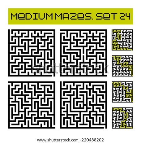 medium mazes set 24 - stock vector