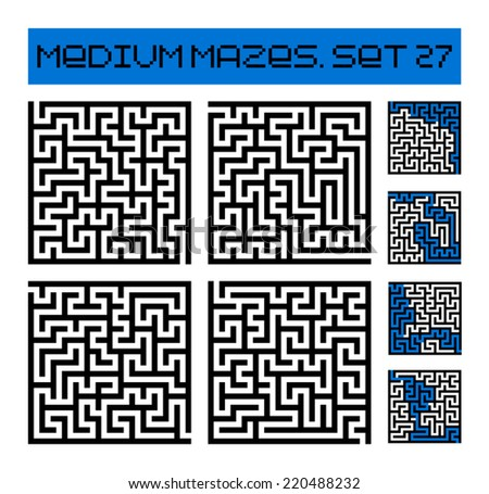 medium mazes set 27 - stock vector