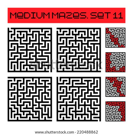 medium mazes set 11 - stock vector