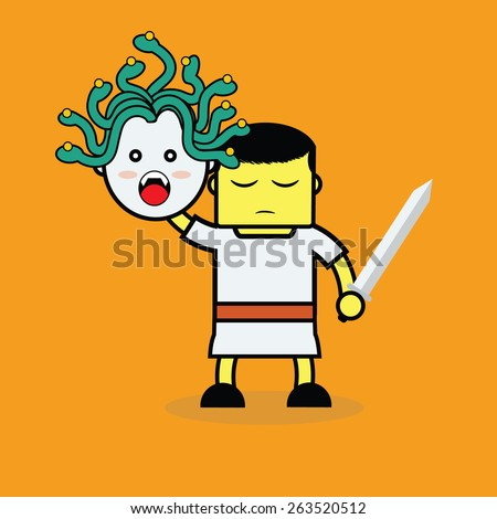 Medusa and Perseus. - stock vector
