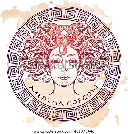 Medusa Gorgon sketch on a grunge background
