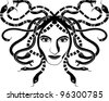 Medusa Gorgona head two-coloured stencil - stock photo