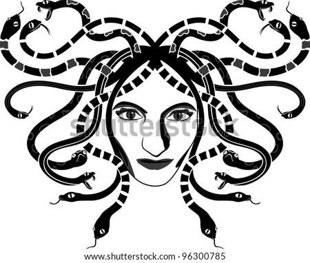 Medusa Gorgona head two-coloured stencil - stock vector