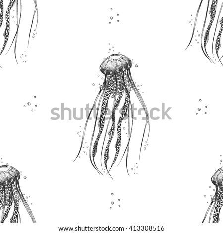 Medusa sketch seamless pattern. Illustration art. Vector - stock vector