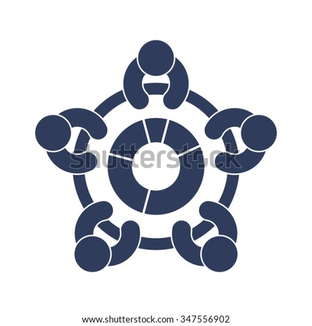 Meeting Discussion Conference Economy Business People Statistics Percentage Vector Icon - stock vector