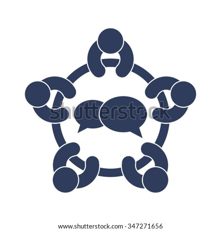 Meeting Discussion Forum Conference Brainstorming People Community Together Vector Icon - stock vector