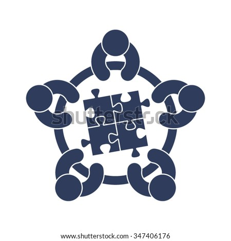 Meeting Discussion Forum Conference Brainstorming Strategy Success People Partnership Cooperation Community Together Vector Icon - stock vector