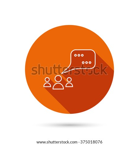 Meeting icon. Chat speech bubbles sign. Speak balloon symbol. Round orange web button with shadow. - stock vector