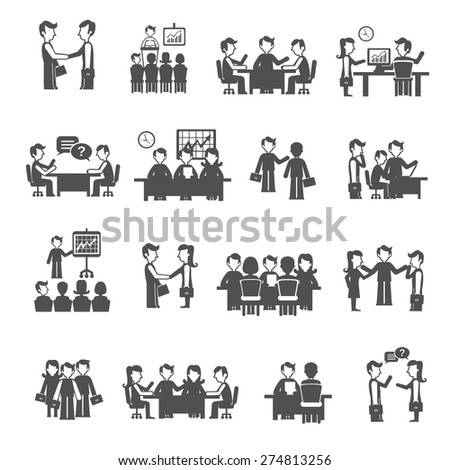 Meeting icons black set with men and women business personnel isolated vector illustration - stock vector