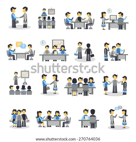 Meeting icons flat set with business people project teamwork symbols isolated vector illustration - stock vector