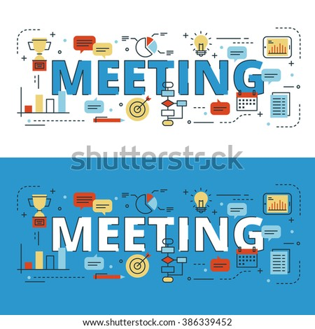 Meeting lettering flat line design with icons and elements for book cover, report header, presentation,illustration, infographics, printing, website banner and landing page. - stock vector