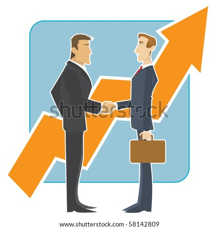 Meeting of business partners in front of a large growing chart - stock vector