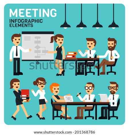 Meeting People Infographic Elements - stock vector