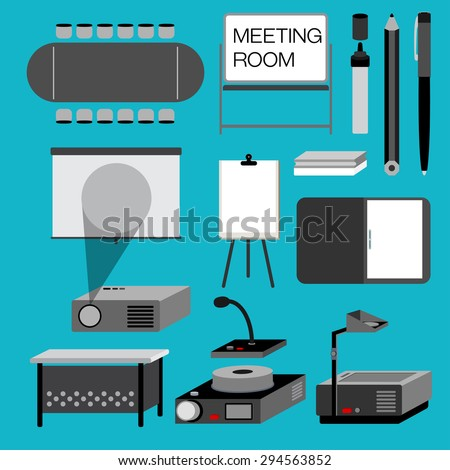 MEETING ROOM Meeting room for the office with useful equipment are collected in this picture such as meeting table, projector. - stock vector
