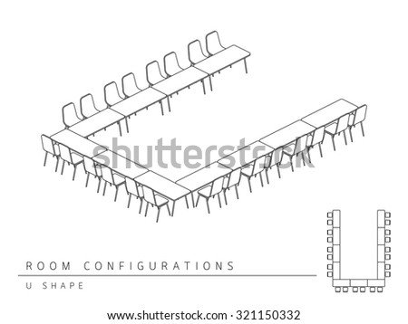 meeting room setup layout configuration u shape style perspective 3d with top view illustration outline