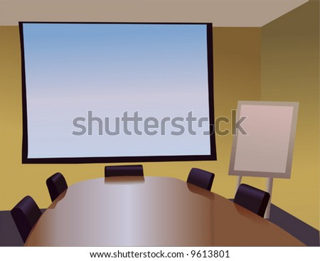 Meeting Room with  Screen - stock vector
