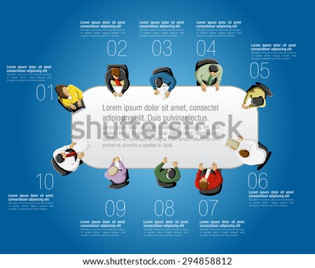 Meeting table with business people working on office - stock vector