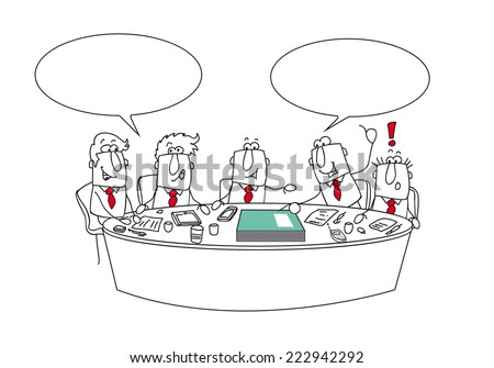 Meeting. This managers are talking around the table. It's an important meeting. Joe is giving  his annual report - stock vector