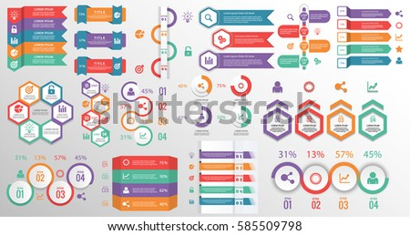 Mega collection info graphic elements process stock vector for Text table design